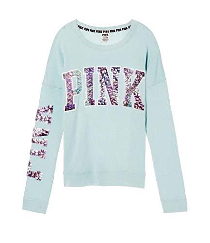 Victoria's Secret Bling Slouchy Crew Sweatshirt Northstar Blue XS (Victorias Secret Slouchy Crew)