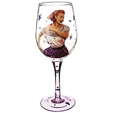 Westland Giftware Wine Glass, Grape Stomping Lucy, 15 oz., Multicolor