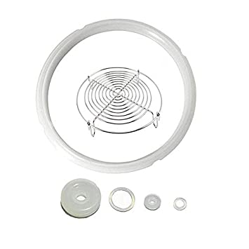 Power Pressure Cooker Sealing Ring Silicone Gasket For 5 /& 6QT IP Model With 5 inch Steamer Rack,Set of 6 Pressure Cooker Accessories Clear Seal ring +Steamer Rack