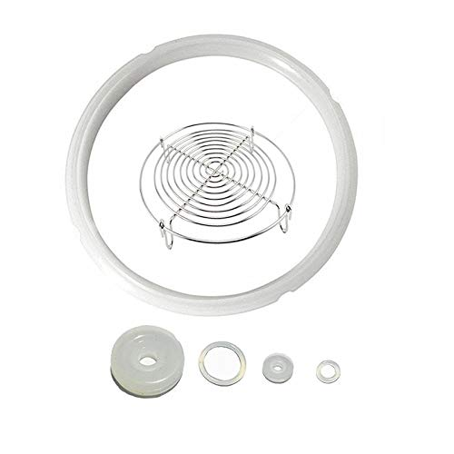 Power Pressure Cooker Sealing Ring Silicone Gasket For 5 & 6QT IP Model With 5 inch Steamer Rack,Set of 6 Pressure Cooker Accessories (Clear Seal ring +Steamer Rack)