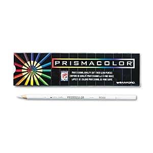 Prismacolor Premier Soft Core Colored Pencil, White Pack of 12