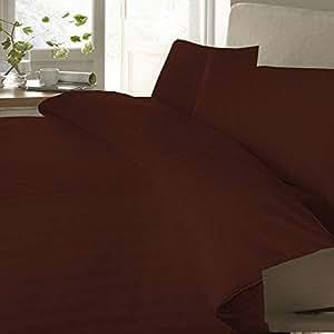 Brightlinen 4pcs Duvet Set Flat Sheet Stripe Emperor Brick Red 400 Thread Count