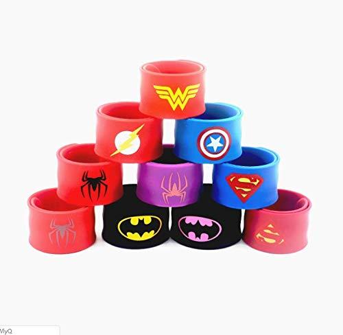 Southstar Bracelet Bands for Kids, 15pcs Superheroes Slap Bands Party Bag Fillers Slap Bracelets Set for Kids Boys & Girls Birthday Party Favors (Style 3)