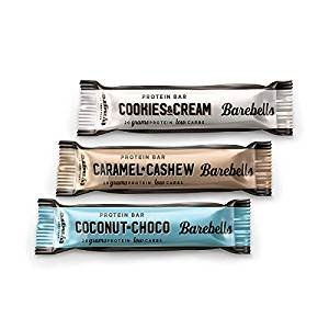 Barbells Protein Bar 55g (Caramel & Cashew, Cookies & Cream, Chocolate & Coconut) (Mixed, 18 bars) by Barbells