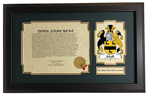 Jekyll - Coat of Arms and Last Name History, 14x22 Inches Matted and Framed