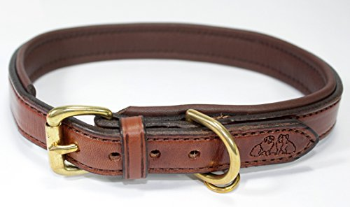 (2 Red Dogs 22 - Medium Brown/Medium Brown Genuine Leather Dog Collar with Soft Pebble Leather Lining, Made in USA Beautiful Padded Harness Luxury Dog Collar, Fits 19-21
