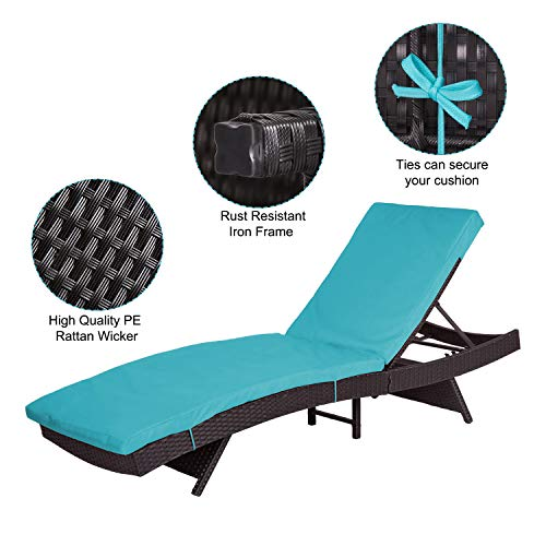 Peachtree Press Inc Peach Tree Outdoor Patio PE Rattan Wicker Adjustable Chaise Lounge Chair w/Blue by Peachtree Press Inc (Image #3)