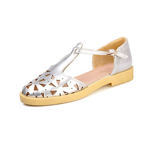 Sandals Material Heels Soft Closed WeenFashion Silver Buckle Toe Women's Solid Low RqZSnpzw