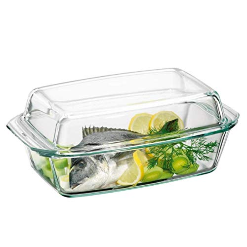 Clear Oblong Glass Casserole by Simax | High Lid Doubles as Roaster, Heat, Cold and Shock Proof, Dishwasher Safe, Made in Europe, 3 Quart