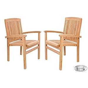 Silla de jardín 2unidades Medan teca Madera Muebles de Jardín Sillas reposabrazos silla silla apilable Premium Calidad