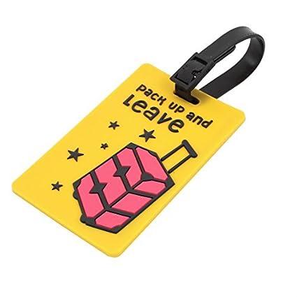 Amazon.com : Cartas eDealMax plástico Imprimir Forma de rectángulo nombre Bolsa Identificación del equipaje etiqueta amarilla : Office Products