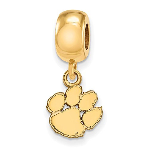 Sterling Silver w/ 14K Yellow Gold-Plated LogoArt Official Licensed Collegiate Clemson University (CU) XS Dangle Bead Charm