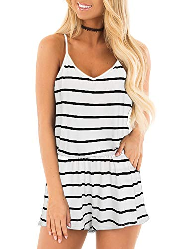 Black Racer Jumpsuit - REORIA Womens Casual Summer One Piece Sleeveless Spaghetti Strap Playsuits Short Jumpsuit Beach Rompers Stripped White Small