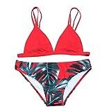 Women's Bikini Set Sexy [ Leaves for Rope Swimsuit ] Push-up Swimwear (Red, S)