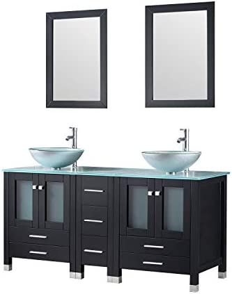 Walcut 60Inch Black Bathroom Vanity and Sink Combo Double MDF Cabinet with Double Glass Vessel Sink and Faucet Combo Silver Green , 60