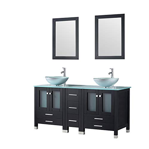 Walcut 60Inch Black Bathroom Vanity and Sink Combo Double MDF Cabinet with Double Glass Vessel Sink and Faucet Combo (Silver Green), 60