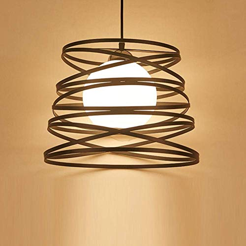 (BOSSLV Led Pendent Lamp Iron Art Swirled Round Hanging Light Shade Industrial Simple Stylish Pendant Lamp Metal Chandelier for Parlor Dining Hall Bar E27 Base [Energy Class A++], Black)