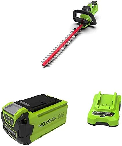 Greenworks Cordless Hedge Trimmer G40ht Li Ion 40 V 61 Cm Cutting Length 27 Mm Tooth Spacing 3000 Cuts Min Adjustable Additional Handle G40b25 Battery Battery Charger G40c 2nd Generation Baumarkt