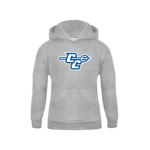 Central Connecticut State Youth Grey Fleece Hood CC with Pitchfork