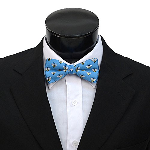Men's Blue & Yellow Bees Pre-tied Banded Bow Tie (Bumble Bee Bow)