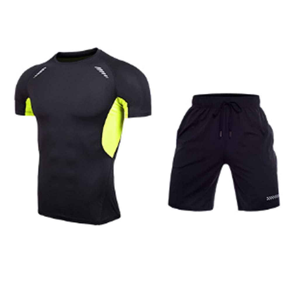 B XXXL QJKai Fitness Clothing Men's Sports Suit Stretch QuickDrying Clothes Running Training Suit TwoPiece