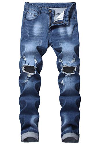 FREDD MARSHALL Men's Dark Blue Slim Fit Ripped Destroyed Distressed Stretch Denim Jeans with Holes ()