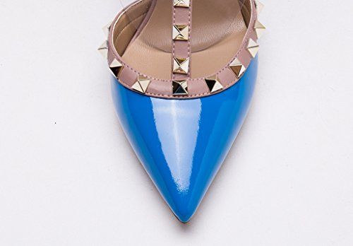 Slingback Blue Studded Pointed Gold Nude Heel Trim Pan Toe Patent Kitten Studs Pumps Kaitlyn Leather qHIFt