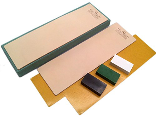 Kit of 2 Leather Honing Strop 3 Inch by 10 Inch with 3 One Oz. Black, Green & White Sharpening Polishing Compounds (One of Each) & Double-Sided Adhesive Tapes by Upon Leather ()