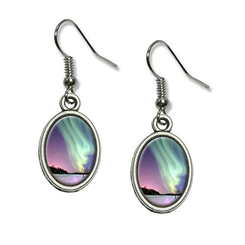 (Aurora Borealis Alaska Sky Novelty Dangling Drop Oval Charm)