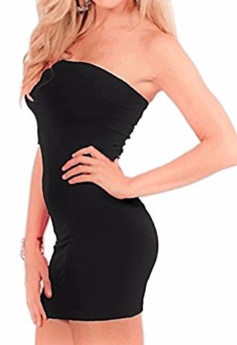 Band Tube Dress (Sexyshine Basic Strapless Bodycon Smoother Tube Slip Dress Black,S)