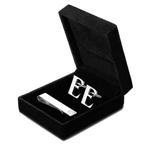 FIBO STEEL Initial Cufflinks and Tie Clip Set for Men Alphabet Letter Wedding Business Gifts Set with Box E ()