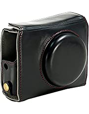 Camera Case for Canon Powershot G7X II, G7X Mark II Camera PU Leather Camera Case Bag Cover with Strap Black