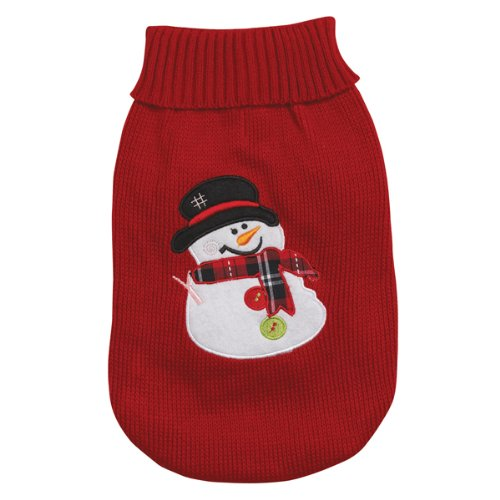 Casual Canine 16-Inch Acrylic Snowman Dog Sweater, Medium, Red, My Pet Supplies