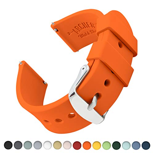 (Archer Watch Straps Silicone Quick Release Soft Rubber Replacement Watch Bands for Men and Women (Portland Orange, 20mm))