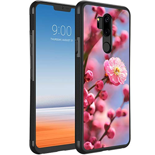 KASOS Case for LG G7 ThinQ [Anti-Skid Raised Edge] Shock Resistant Protective Slim TPU Bumper and PC Lightweight Cover Case Plum Blossoms Blooming