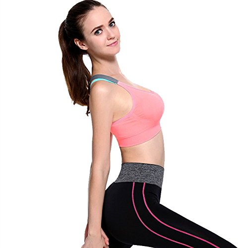 Queenie Qin Women Cross Back Racerback Sports Bras - Removable Pads Seamless High Impact Workout Gym Activewear - Shop Soccer Uk Review