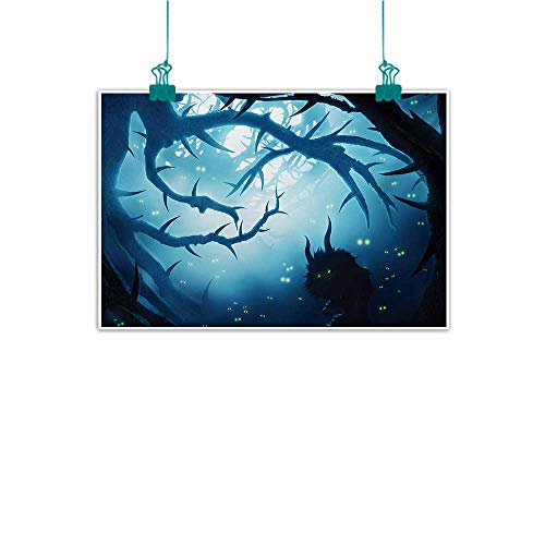 (Mystic Living Room Decorative Painting Animal with Burning Eyes in The Dark Forest at Night Horror Halloween Illustration Modern Minimalist Atmosphere 47