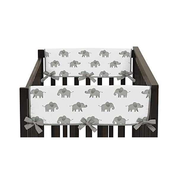 Sweet Jojo Designs Grey and White Side Crib Rail Guards Baby Teething Cover Protector Wrap for Watercolor Elephant Safari Collection – Set of 2