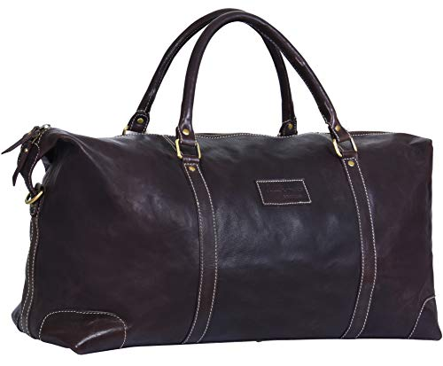 Brown Real Leather Duffle Travel Gym Weekend Carry On Bag