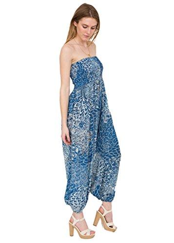 Peacock Print 2 in 1 Harem Trouser Jumpsuit Ocean Blue, One Size