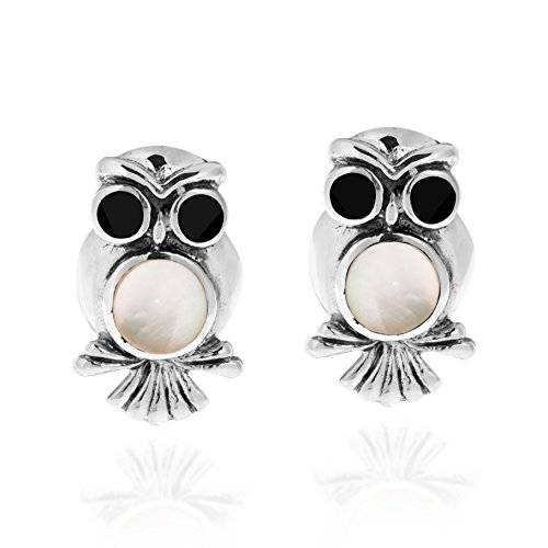Spirit of Wisdom Owl Mother of Pearl Inlay .925 Sterling Silver Stud Earrings