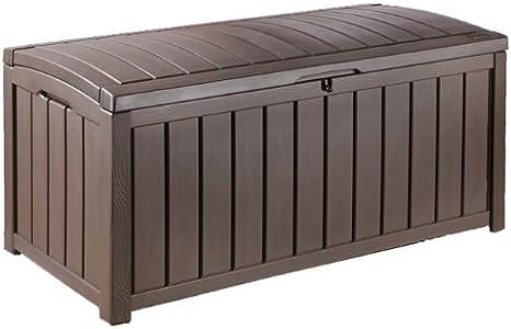 ARCON GLENWOOD | Arcón de jardín multifunción, sirve de asiento y arcón. Elegante acabado imitación madera. Fácil montaje. Resiste cualquier climatología. Capacidad 390 lts | 128 x 65 x 61 cm