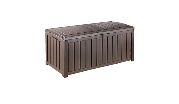 ARCON GLENWOOD | Arcón de jardín multifunción, sirve de asiento y arcón. Elegante acabado imitación madera. Fácil montaje. Resiste cualquier climatología.