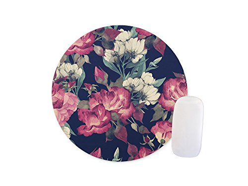 Flowers on a black background Round Mouse pad Customized Non Slip Rubber Round Mouse pad Non Slip Rubber Mouse pad Gaming Mouse Pad (Pads Colormouse)