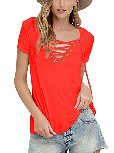 Sumtory Women's Sexy V Neck Bandage Short Sleeve T Shirt Tops – Small, Watermelon Red