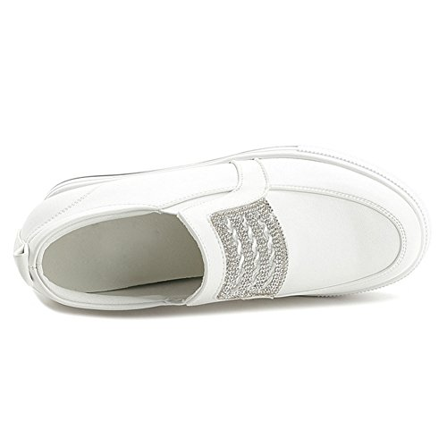 Btrada Womens Casual Wedge Sneakers Hidden Heel Cz Fashion Sport Walking Shoes Daily Sneakers White RlKe0OAj