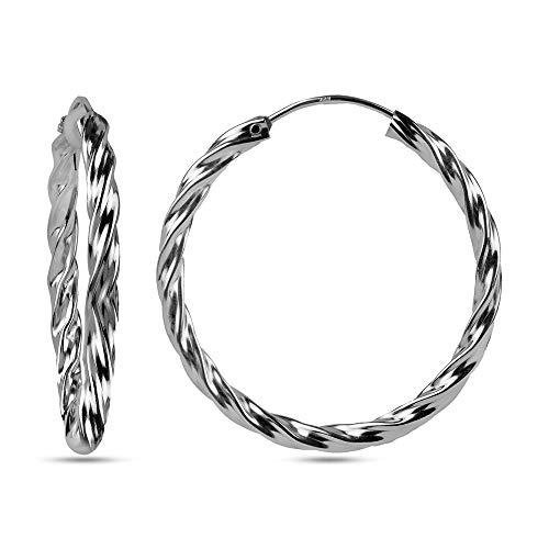 (LeCalla Sterling Silver Jewelry Twisted Tube Endless Hoop Earrings for Women)
