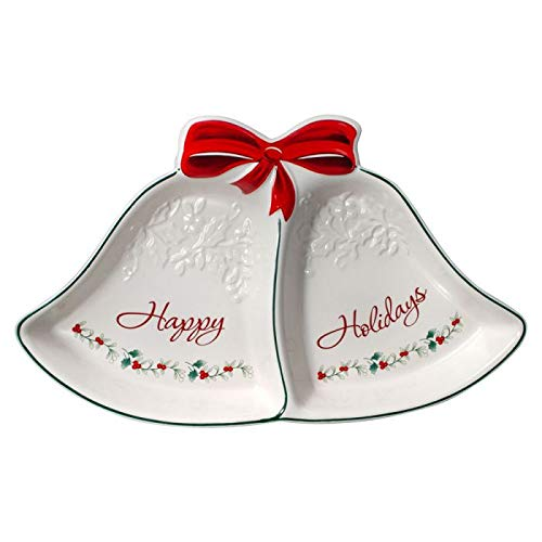 - Pfaltzgraff Winterberry Ribbons 2 Section Serving Tray