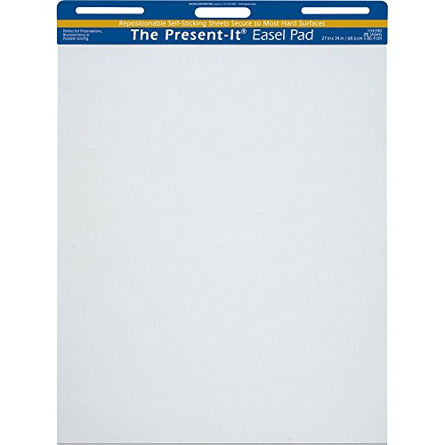 "Present-It Easel Pad With Adhesive, 27""X34"", Unruled, 25 Sheets"