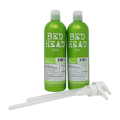 Bundle-4 Items : TIGI Bed Head Re-Energize Shampoo and Conditioner Duo, 25.36 oz & 2 liter pumps (Catwalk Thickening Tigi Conditioner)